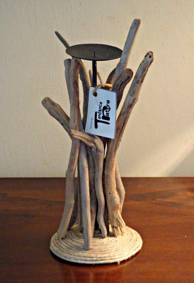 """Porta candela """"Katina"""" con legni di mare"""