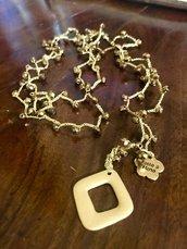Collana lunga bronzo con mezzi cristalli