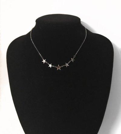 Collana Girocollo in acciaio con stelle