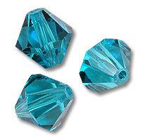 15 Cristalli Modello Bicono Swarovski 4mm Blue Zircon