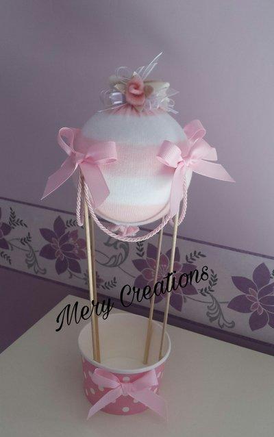 Mongolfiera cake topper, nascita, battesimo, compleanno, bambina, fiori