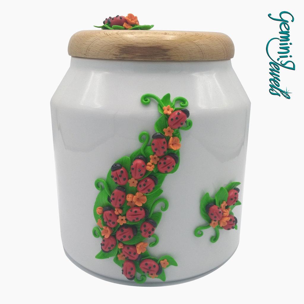 Biscottiera in ceramica con decorazione in fimo