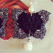 Orecchini farfalla nero argento