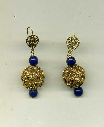 ORECCHINI pendenti con gomitolo dorato e agata blu