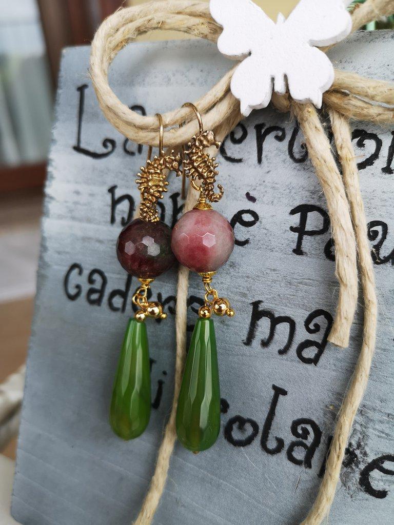 Orecchini viola e verde