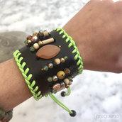 Bracciale Pelle e Pietre, verde - Agata