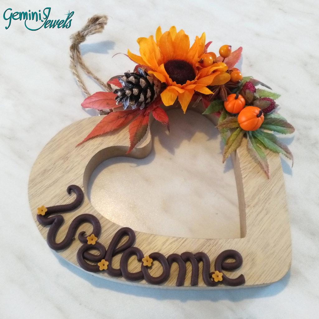 Targa Welcome fuoriporta cuore decorato