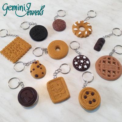 Portachiavi in fimo, fatto a mano, biscotti