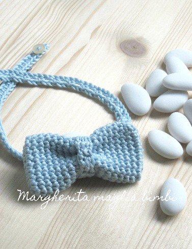 Farfallino papillon neonato/bambino - cotone azzurro - uncinetto - Battesimo