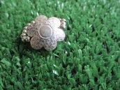 anello argento con fiore argento