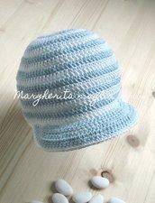 Cappello/cappellino con visiera bambino - cotone a righe bianco/azzurro - Battesimo