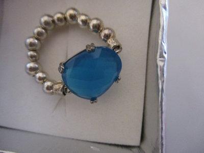 anello argento con cristallo blu