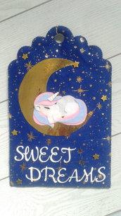Targhetta dolci sogni con unicorno
