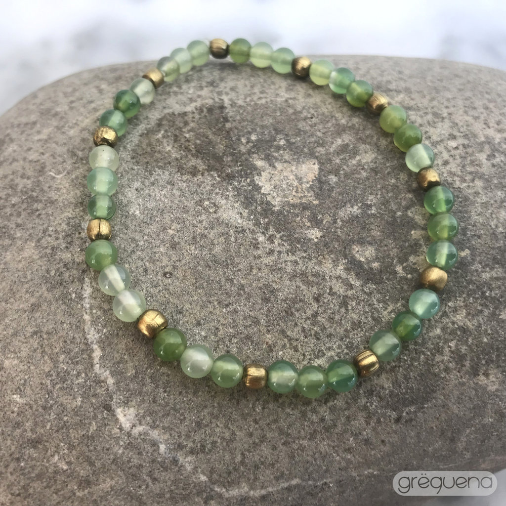 Agata (4mm) e perline ottone, Bracciale elastico