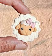 Pecorelle con fiocchetto rosa bomboniera bomboniere nascita battesimo pecorella