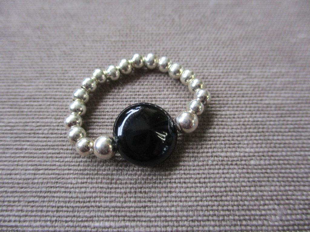 anello argento e onice nera