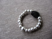 anello argento con swarovski nero