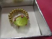 anello argento dorato 925 con cristallo verde
