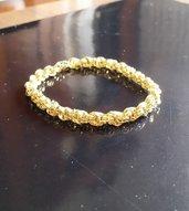 Bracciale maglie Double Spiral colore dorato lavorate con la tecnica chainmaille