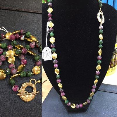 Collana di Zoisite con Ematite Oro