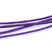 10 metri cordino cotone cerato 1mm viola
