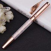 Penna gel colore oro rosa con cristalli
