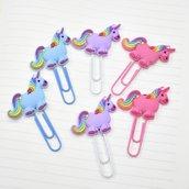 Graffette in metallo a forma di unicorno in 3 colori
