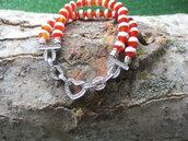 braccialetto due fili agate tibetane rosse e bianche