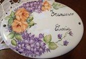 Targa,piastra ,ovale in ceramica ,fuori porta,personalizzabile dipinta a mano,diverse misure