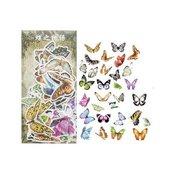 Stickers farfalle su imitazione carta pergamena