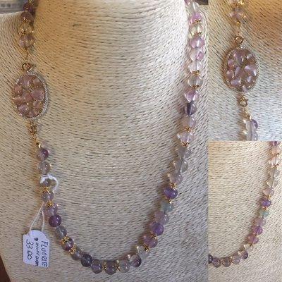 Collana di Fluorite con elemento decorato