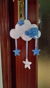 Cartamodello fiocco nascita nuvola con elefantino e stelline