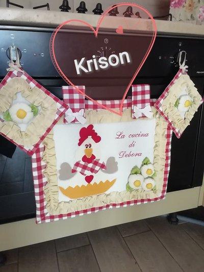 Copri forno stile country quadri rossi e bianchi con gallina