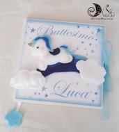 Album guestbook battesimo unicorno arcobaleno personalizzabile per bimbo e bimba