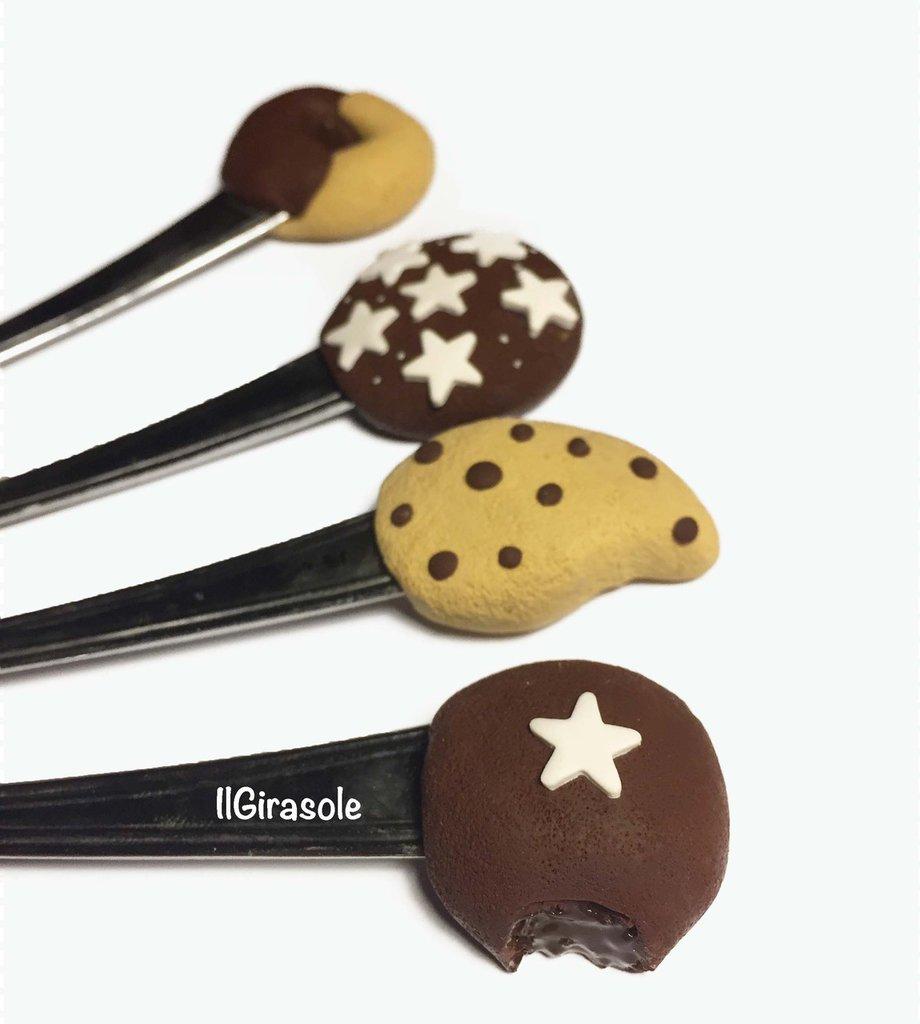 Set 4 cucchiai lunghi a tema biscotti in fimo
