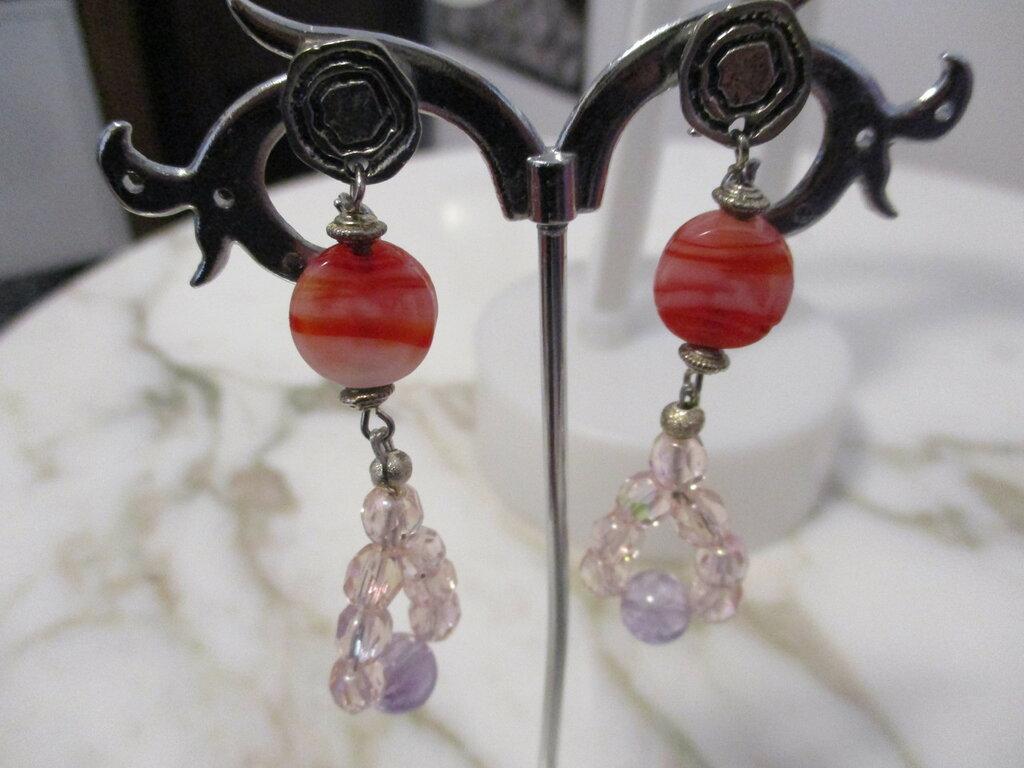orecchini pendenti mezzi cristalli e quarzo