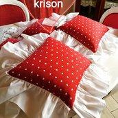 Cuscini su misura stile shabby/moderno rosso cuoricini