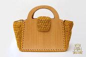 Borsa uncinetto in legno, borsa autunno inverno color oro