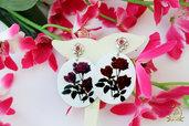 Orecchini pendenti con fiori, ovali con rose, orecchini leggeri