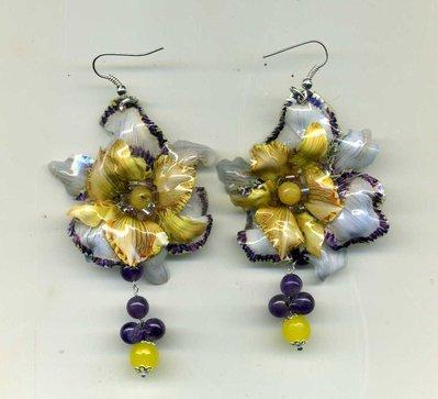 ORECCHINI pendenti e leggerissimi con orchidea doppia in sospeso trasparente