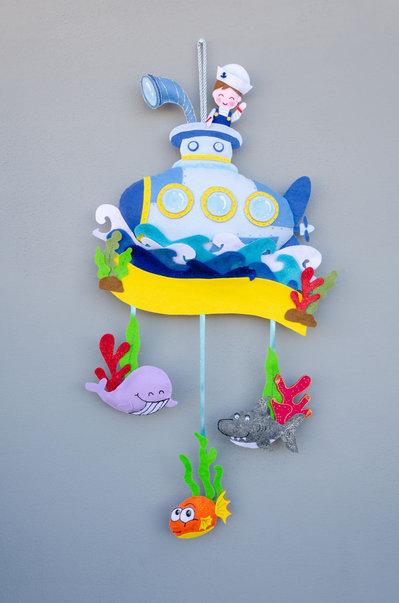 Fiocco nascita tema mare con sottomarino, 66 x 32 cm