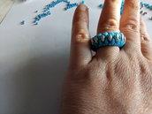 Anello a fascia argentato e blu