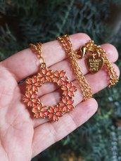 Collana con fiori di ciliegio sakura in resina rosso corallo, gioielli in resina per matrimonio, gioielli sposa, collana sposa