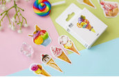 "LOTTO 45 stickers adesivi in carta ""Ice Cream"" (da 1 a 3 cm)"