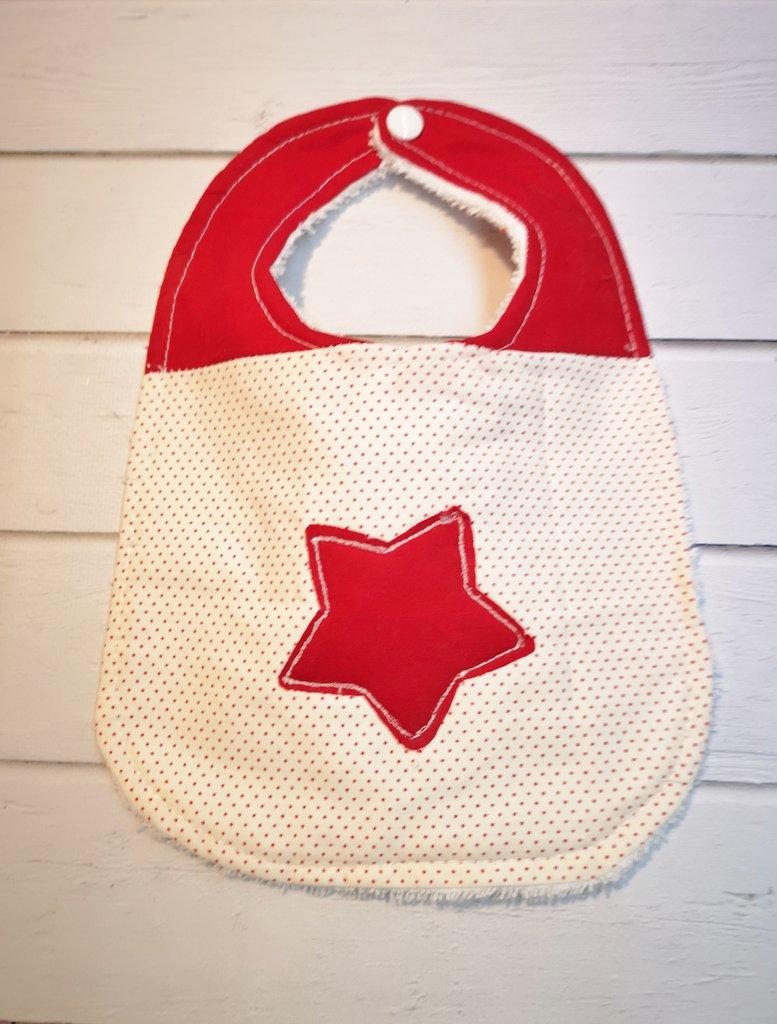 Bavaglino bianco e rosso con stella