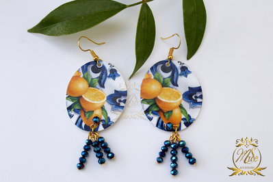 Orecchini pendenti, orecchini colorati, estate, orecchini donna, limoni, giallo e blu