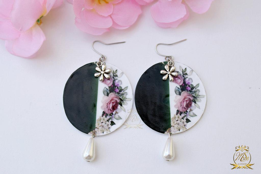 Orecchini fatti a mano, orecchini pendenti, orecchini fiori, orecchini a cerchio