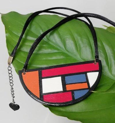 collana Mondrian in legno dipinta