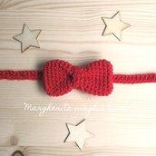Farfallino papillon neonato/bambino - cotone rosso - uncinetto - photo prop