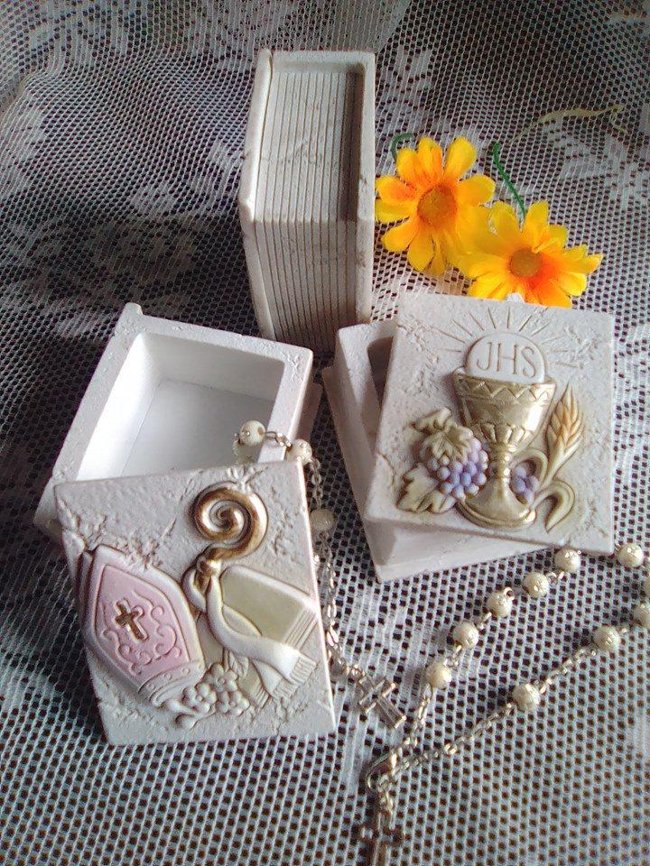 stampo scatola libro portaconfetti/rosario prima comunione cresima cm.6,5x5,5x3,5